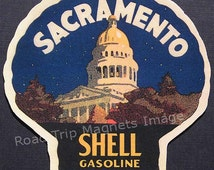 Shell Gasoline 1920s Travel Decal Magnet for SACRAMENTO (CA). Accurately Reproduced & hand cut in shape as designed. Nice Travel Decal Art