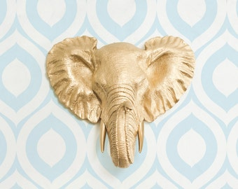 Savannah Mini in Gold - Faux Elephant Head by Wall Charmers™ Faux Taxidermy Decor Safari Nursery Wall Decor Elephant Decoration Baby Shower