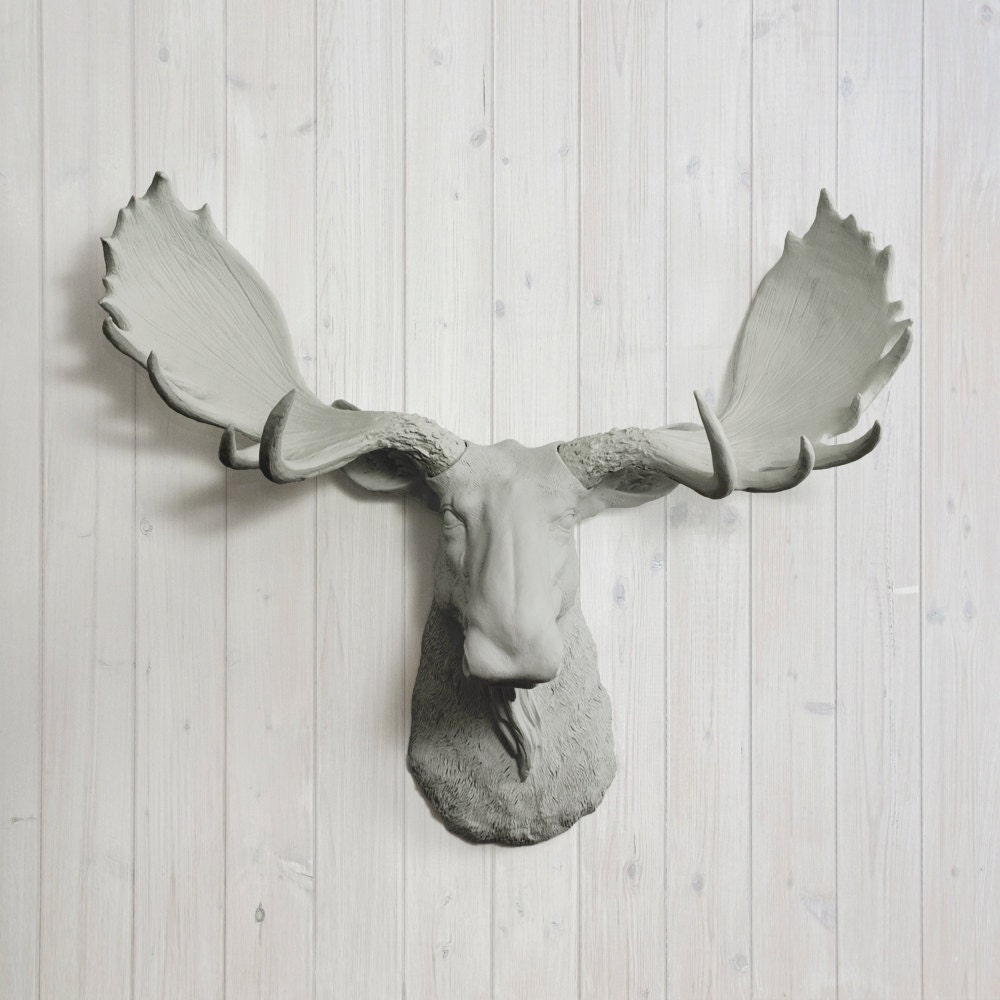 The alberta in gray faux moose head fake taxidermy resin - Fake moose head mount ...