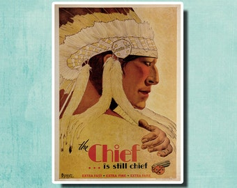 The Chief... Is Still Chief - 1931 - Vintage Railway Poster USA SG5444