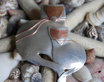 Vintage Sterling Silver Dual Kitty Cat Feline Pair Modernist Brooch with Copper Faces
