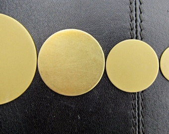 "BRASS Discs - Round Blanks     1-3/4"", 1-1/4"", 1"",  3/4"", 5/8"", 1/2"", 7/16"", and 3/8""  -  18 gauge"