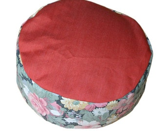 Meditation Cushion. Red top and floral side.