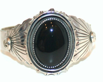 Vintage sterling silver and onyx cuff bracelet
