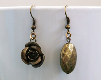 Handmade Asymmetrical Bronze Earrings Made From Recycled Materials