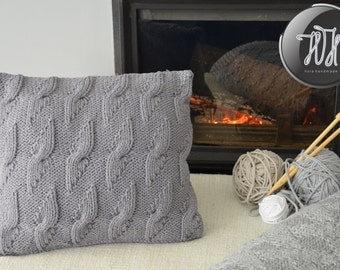 Handmade knitted pillow gray