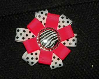 Neon Pink/Dots Ribbon Flower Bow