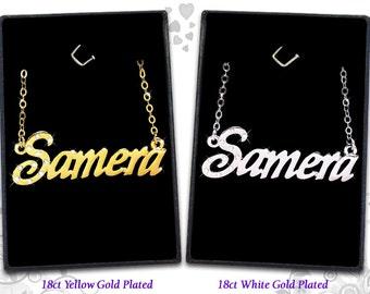 Name Necklace Samera  - 18K Gold Plated, Czech Rhinestones