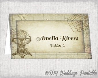 "Printable place cards template ""Travel Bug"" DIY destination name cards -YOU EDIT Word template instant download - Avery tent compatible"