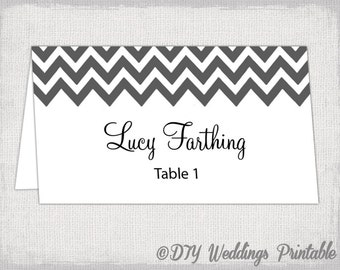 "Charcoal gray place card template ""Chevron"" name cards -DIY wedding printable gray place cards YOU EDIT Word Jpg Avery 5302 instant download"