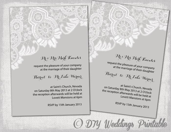 Lace Wedding Invitation Template: Printable Wedding Invitations Template Editable Gray