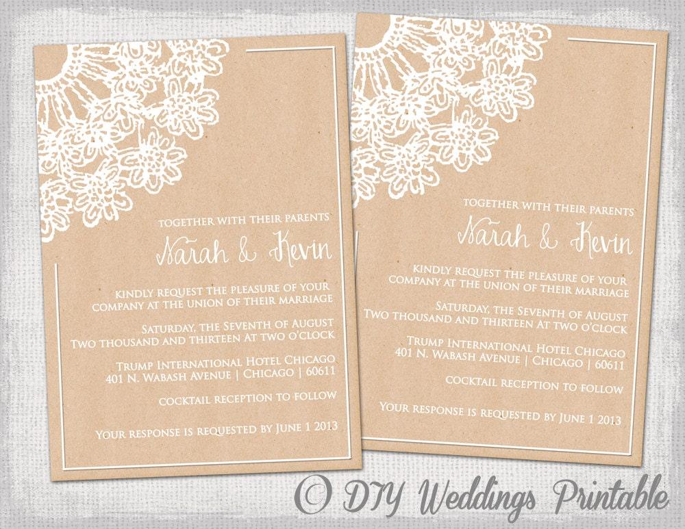 Wedding Invitations Diy Templates Free: DIY Rustic Wedding Invitations Template By