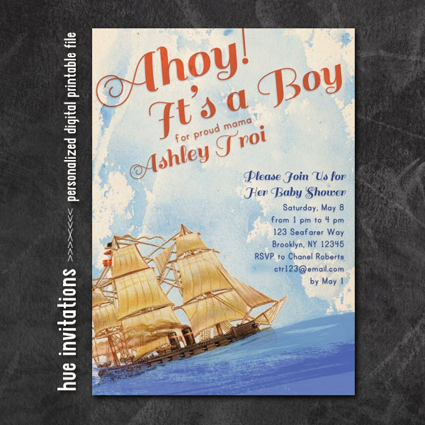 ahoy it 39 s a boy baby shower invitation nautical boy baby