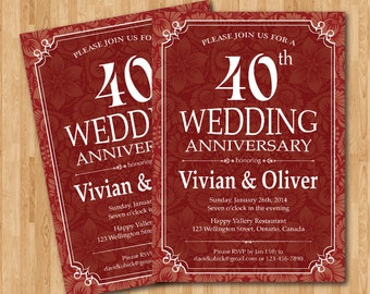 Items similar to 40th wedding anniversary invitation. Ruby red ...