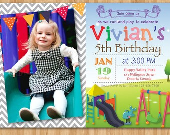 Playground Birthday Invitation. Kids Park Birthday Party Invite. Girl or Boy. Chevron with photo. 4th 5th 6th any age. Printable Digital DIY