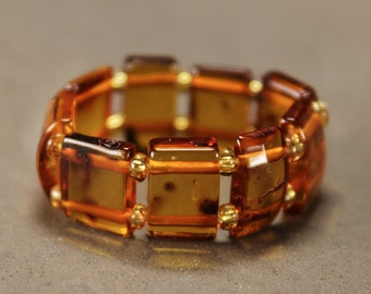 Elastic Poliched Baltic Amber Ring
