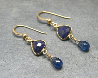 Blue Sapphire and Kashmir Blue Kyanite Gemstone Earrings Gold Filled Dangle Earrings with Genuine Stones - September Birthstone