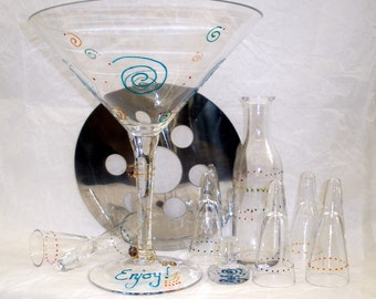 Hand Painted Chiller Shot Martini Set, Oversized, Vodka, Tequila, 10 piece set