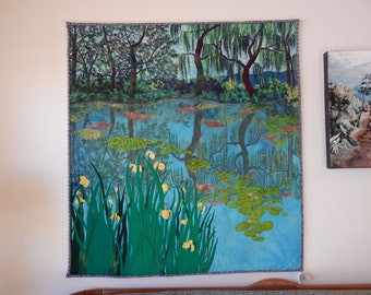 "Landscape""Homage to Monet"" Quilted Wall hanging Upcycled wool and silk  Garden"