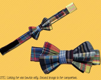 Boy's Adjustable Neck, Madras Plaid Bow Tie - M1