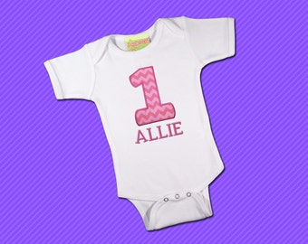 Girls Birthday Baby bodysuit with Embroidered Name