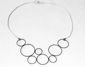Contornos circles  silver Necklace