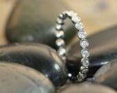 Bezel Set Diamond Eternity Band Ring 14k White Gold Women Wedding Ring Anniversary Ring Promise Ring (Yellow or Rose Gold Available)