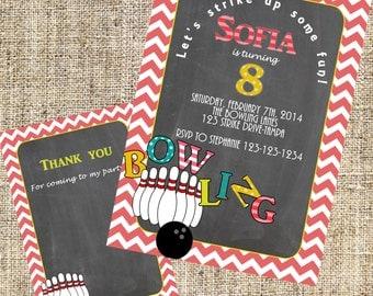 Bowling Invitation, Girls Bowling Invitation, Bowling Invite, Girly bowling Invitation, Bowling Party + Free Matching Thank You Card.