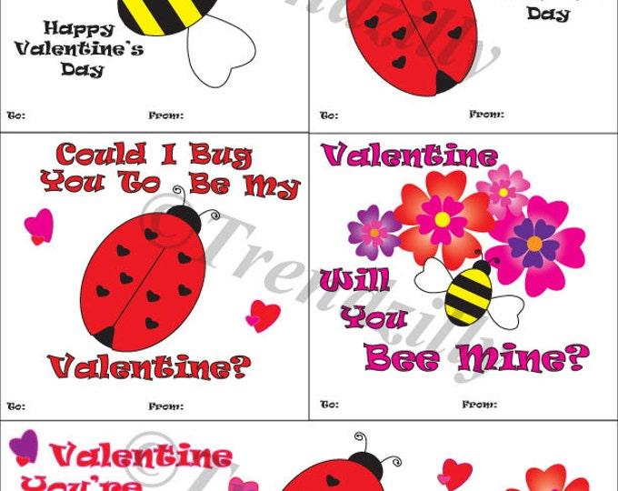 Honey Bee Valentine's, Lady Bug Valentine, Kids Valentines, Valentine's Day, Printable Instant Download, Personalized (Set of 5)