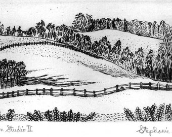 View from the Studio II, Etching & Engraving,  Hand-printed original print,