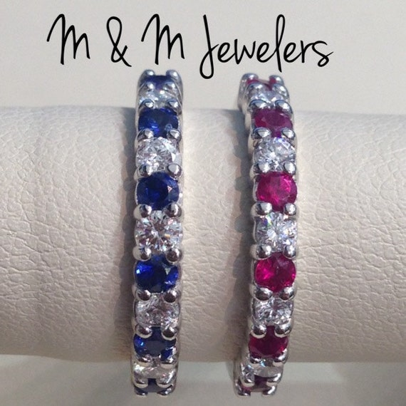 14K White Gold Shared Prong Set Round Brilliant Cut Ceylon Sapphire or Ruby and Diamond Band SOLD SEPARATELY