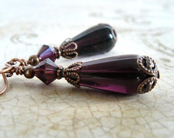 Plum Glass Earrings Vintage Style Amethyst Dangles Wine Teardrop Earrings Romantic Old Fashioned Jewelry with Antique Copper