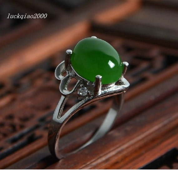 free shipping jade wedding ring set engagement by luckqiao2000. Black Bedroom Furniture Sets. Home Design Ideas