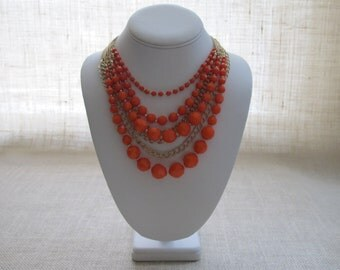 Statement Bubble Necklace, Fashion Layered, Beaded Jewelry, Bridesmaid Gift