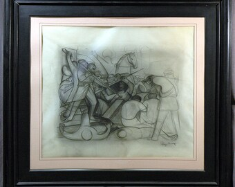 """Diego Rivera A Pencil on  paper 23"""" X 37"""" Sketch For a  Mural Correct in all Respects I viewed and from an Important collection"""