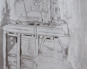 Digital image of a mixed technical work realized on paper