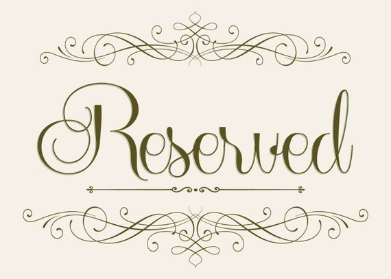 Wedding Seating RESERVED Sign 5 X 7 Printable DIY Instant Download Peach Brown Vintage Style