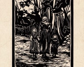 Tudor Linocut Original Art Print - 'Along the Muddy Path'