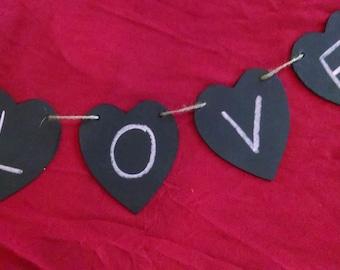 4 Piece Heart Shaped Chalkboard Banner