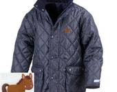 Kid's Personalised Horse Riding Jacket - Horse Embroidered Motif with Your Choice of Name