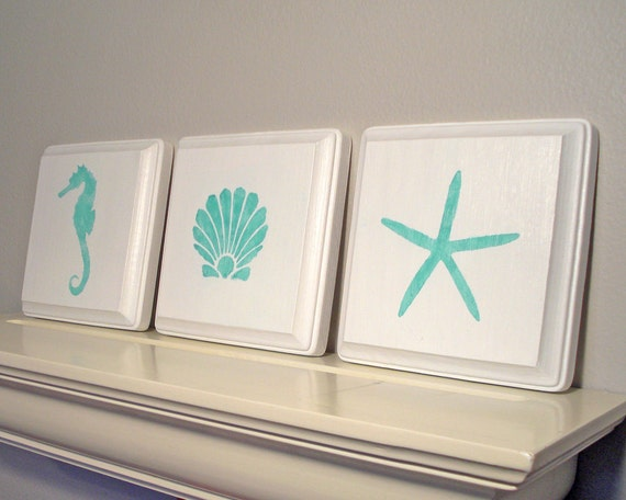 Seashore Bathroom Decor: Items Similar To Coastal Seashore Decor / Beach Wall Art