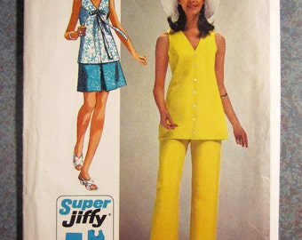 "UNCUT SIMPLICITY 8830 Vintage Sewing Pattern - 1970 Mini Skirt, Over Blouse Vest, Pant Suit - Size 14 Bust 36"" - Super Jiffy, Simple to Sew"