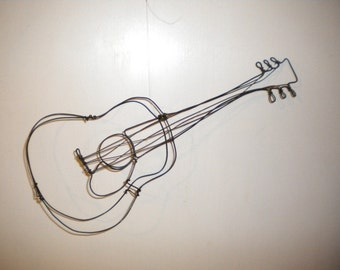 Guitar--3-D steel wire sculpture