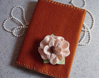 Copper Wool Felt Soft Cover Journal - 3 Dimensional Flower