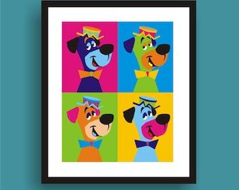 Huckleberry Hound  Pop Art Original Print by C Wiedenheft comes with a white mat and ready to frame.