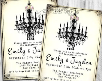 Engagement Party Invitations - Fancy Chandelier - Printable