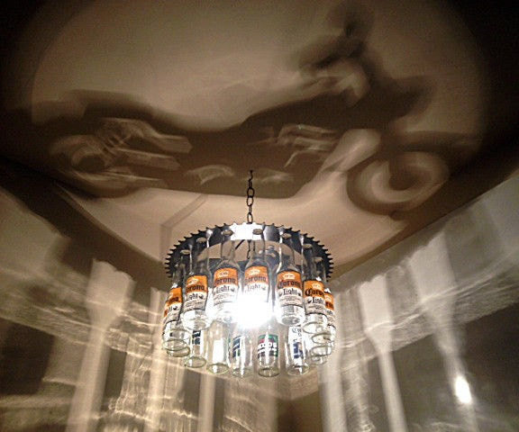Motorcycle Shadow Bottle Light Chandelier By