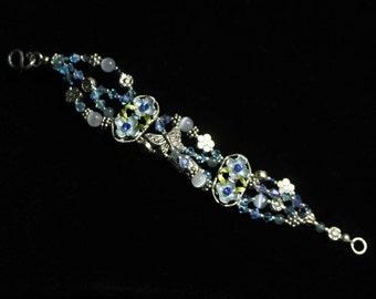 Blue Crystal Flower Bracelet