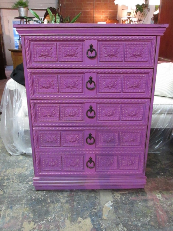 Radiant Orchid Vintage Painted 5 Drawer Dresser