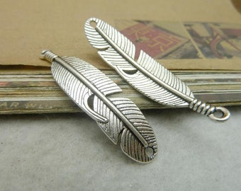20pcs 10x45mm Antique bronze feather/ antique silver two holes feather Charms, feather Pendant Jewelry findings  C7087 ,C7086